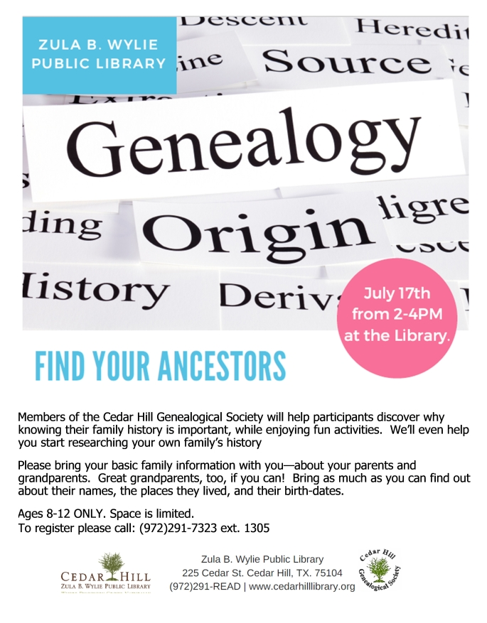 2018 Library Young Peoples Genealogy Program Poster